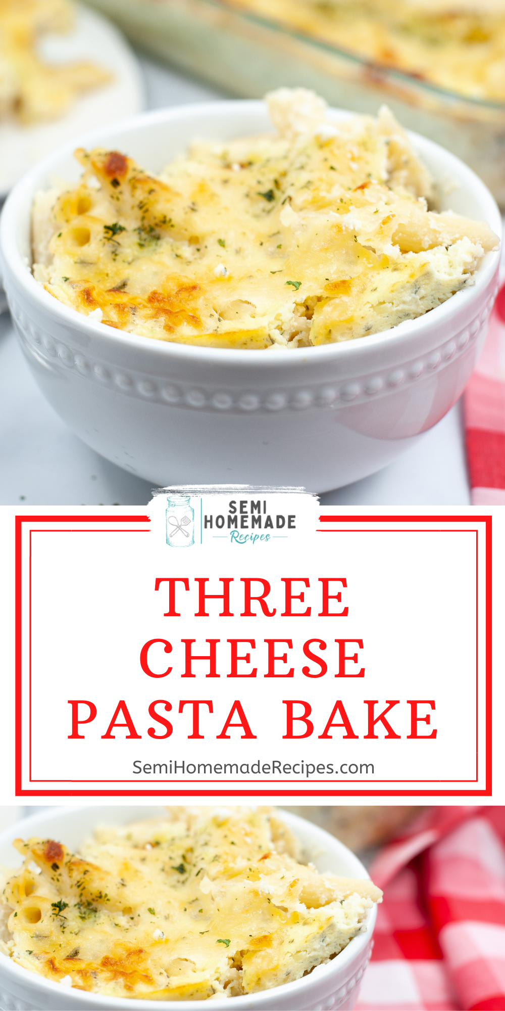 Three Cheese Pasta Bake is make with Mozzarella cheese Parmesan cheese and cottage cheese! Mixed together with penne pasta and baked for about 30 minutes makes for a great dinner!!