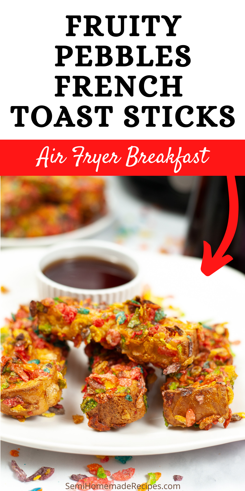 Air Fryer Fruity Pebbles French Toast Sticks are a fun breakfast that kids will love! These cereal French toast sticks are colorful, easy to make and can be made with any of your favorite cereals!