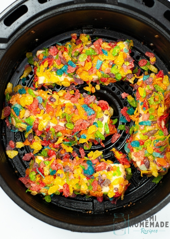 AIR FRYER FRUITY PEBBLES FRENCH TOAST STICKS in air fryer basket