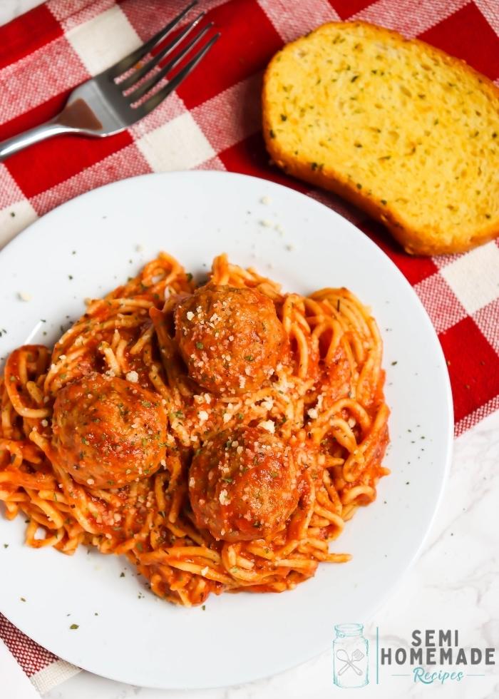 Overhead shot of Crock Pot Spaghetti and Meatballs (3)