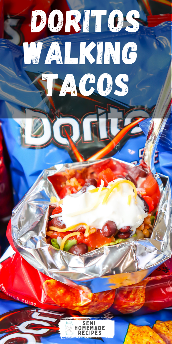 Doritos Walking Tacos - Easy and Mess Free! Fill these Doritos bags with all of your favorite taco toppings and dig in!