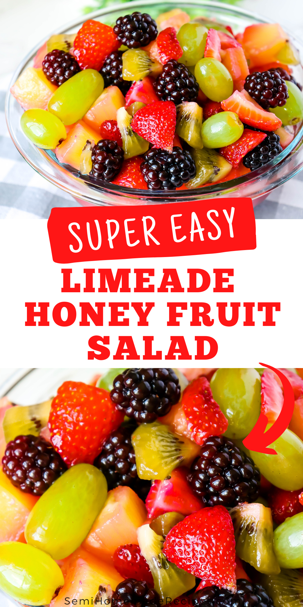 Limeade Honey Fruit Salad - This fresh, sweet and sour mixed fruit salad is perfect for cooling off on a hot summer day!