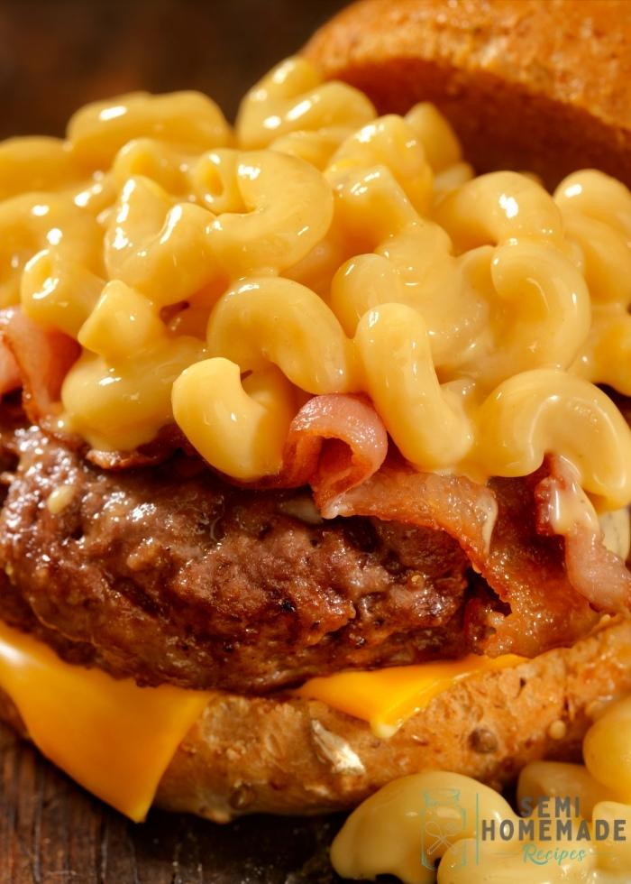 Mac and cheese on cheeseburger