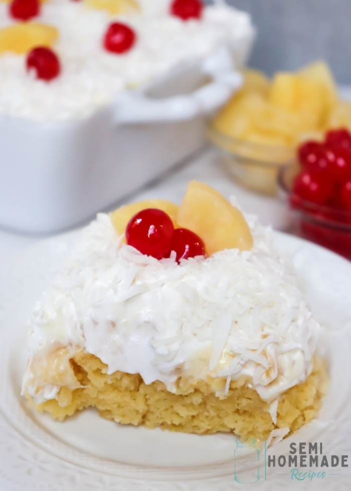This fun Pina Colada Poke Cake combines pineapple, coconut and cherries into a Pina Colada flavored cake that will transport you to a tropical vacation right in your very own kitchen!