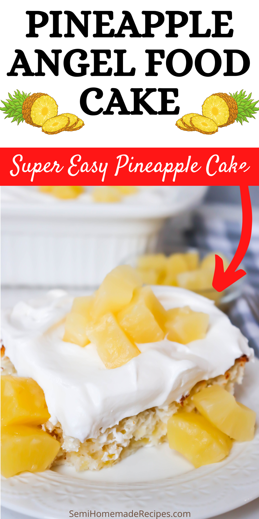 You'll love how easy this Pineapple Angel Food Cake is to make! 3 ingredients is all you need for this pineapple infused cake!