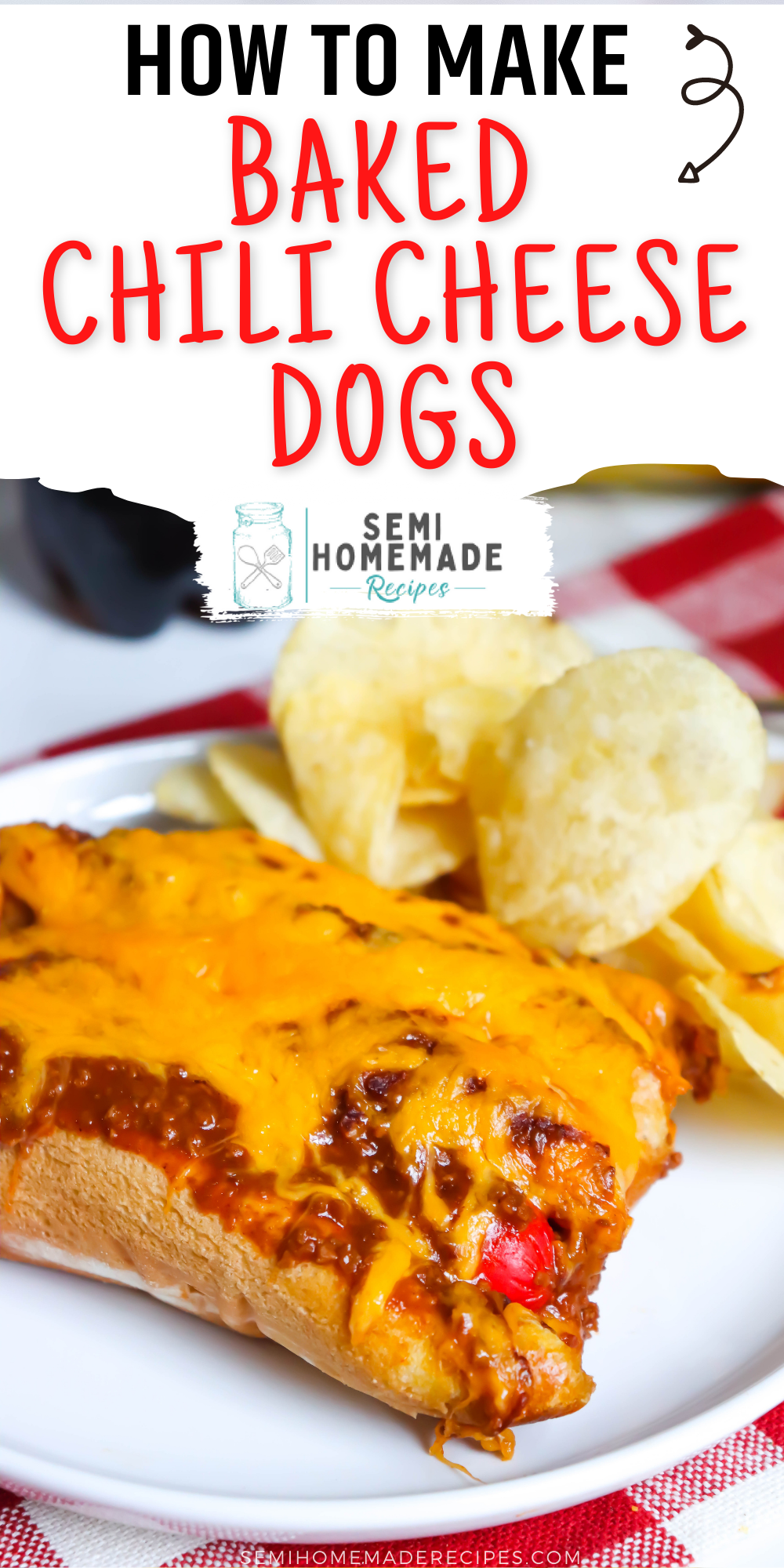 Cheesy, Chili covered Hot Dogs that are baked in the oven! These Baked Chili Cheese Dogs are delicious and so easy to make!