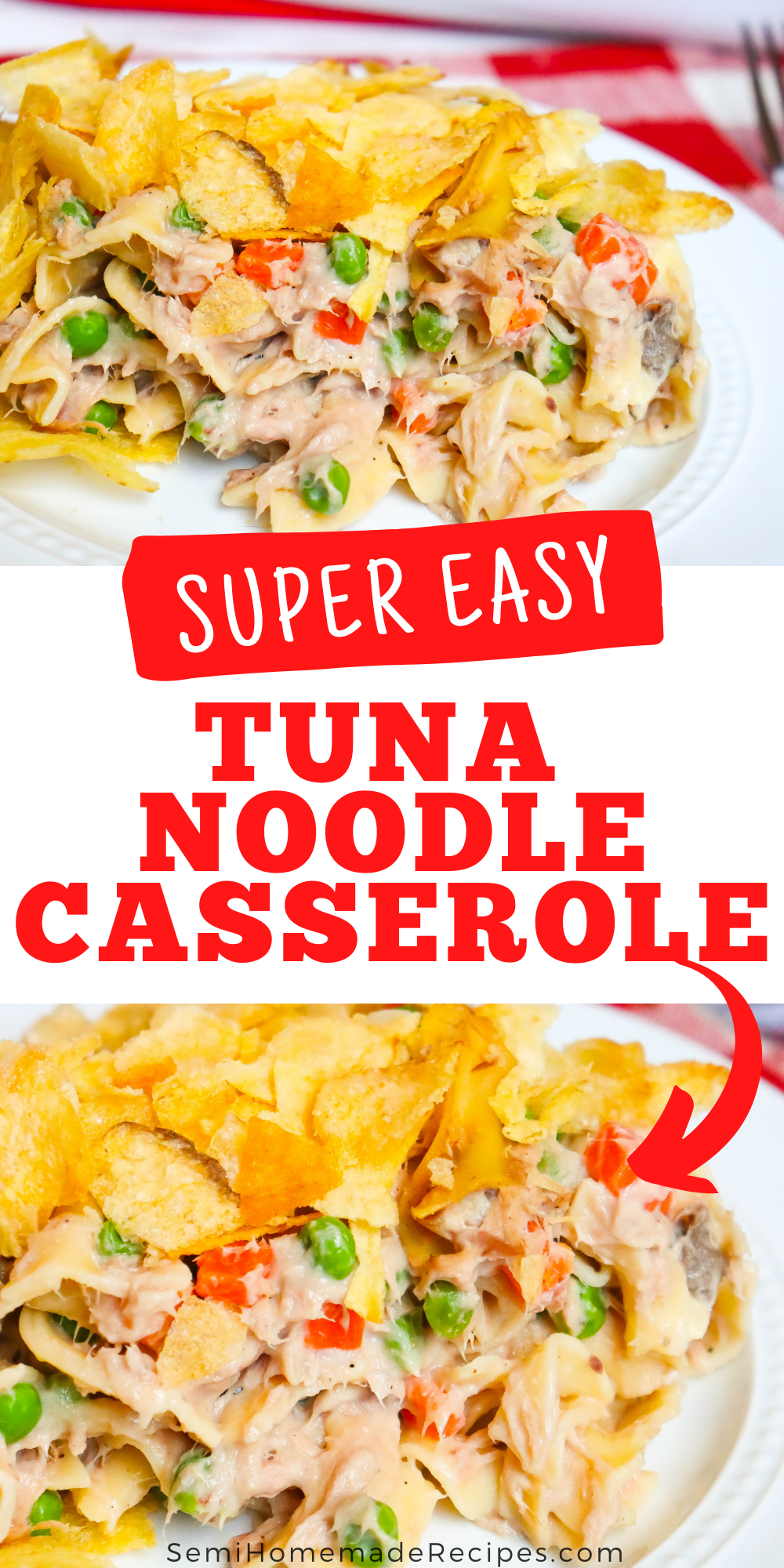 Easy Tuna Noodle Casserole - a classic favorite with egg noodles, lots of tuna, green peas, carrots and classic mushroom soup. We packed even more tuna into our casserole than the average tuna casserole so you get tuna in every bite!