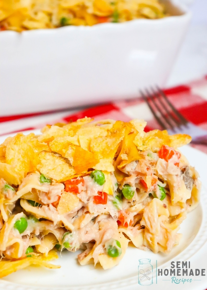 SERVING OF EASY TUNA NOODLE CASSEROLE ON A WHITE PLATE (1)