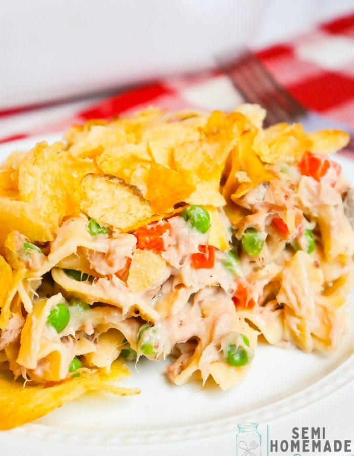 SERVING OF EASY TUNA NOODLE CASSEROLE ON A WHITE PLATE