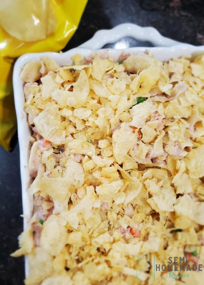 TUNA NOODLE CASSEROLE in casserole dish topped with Lays Potato Chips