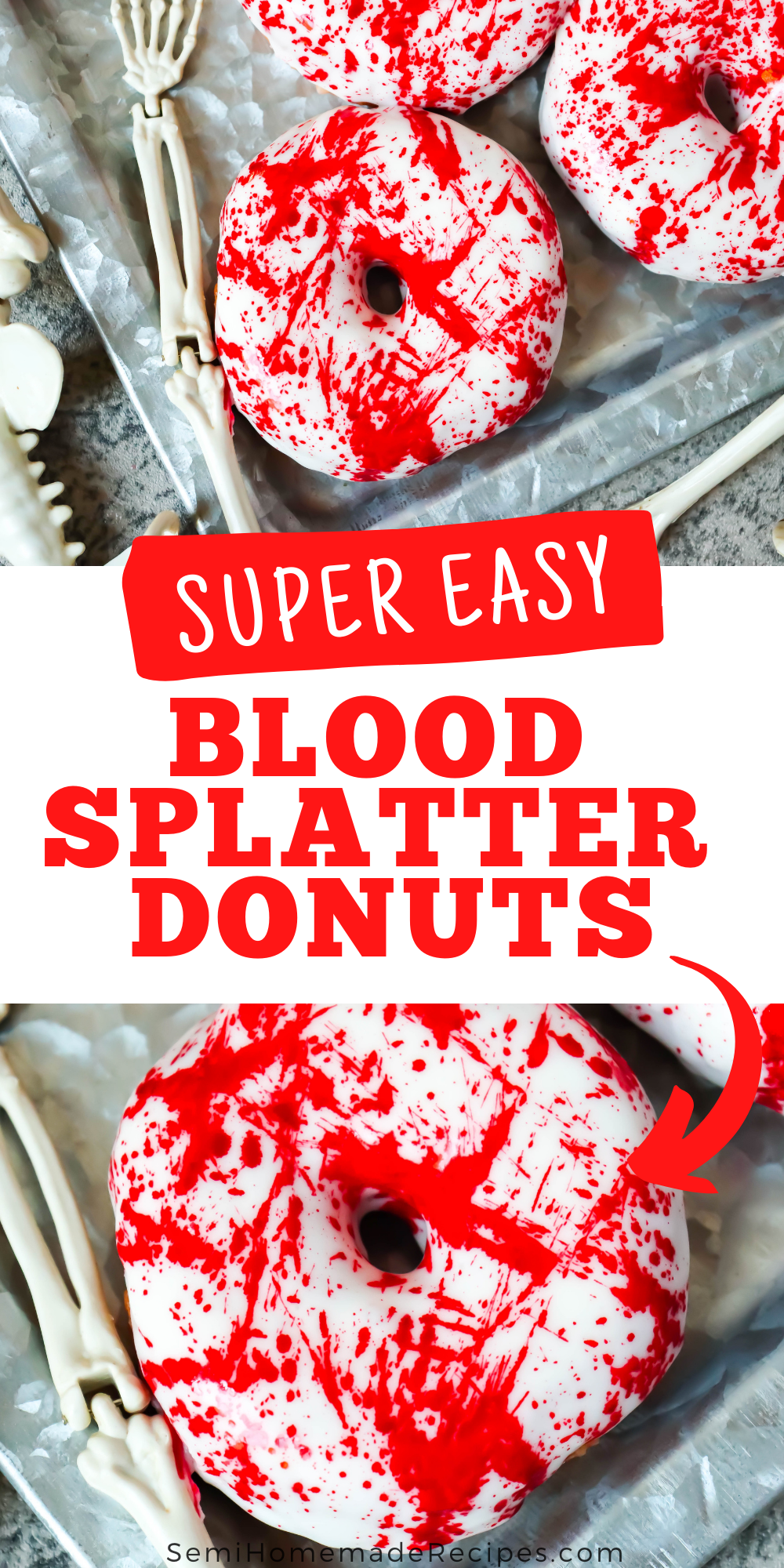 A blood splatter dessert that is perfect for Halloween. You only need a few things like, Donuts, a powdered sugar frosting and food coloring for this spooky dessert!