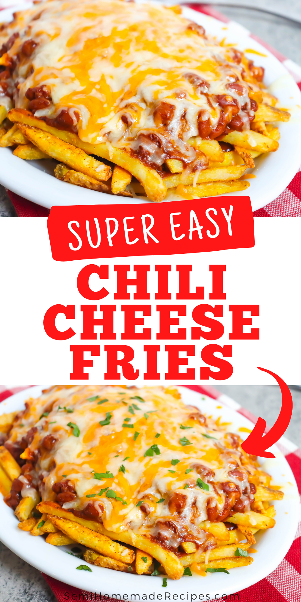 Easy Chili Cheese Fries – This dish is made with baked frozen French fries seasoned with seasoning salt and topped with chili sauce and chili beans Then it is topped with shredded cheese before being placed under the broiler to melt the cheese! Garnish with parsley and enjoy! Great with homemade ranch dressing!