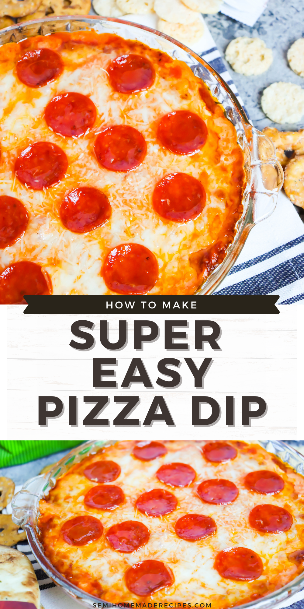 Pizza Dip – layers of cream cheese, parmesan cheese, mozzarella cheese and pizza sauce are topped with more cheese and pepperoni to make this easy pizza party dip! Perfect for serving with pretzels, naan bread, or crispy cheese wisps.