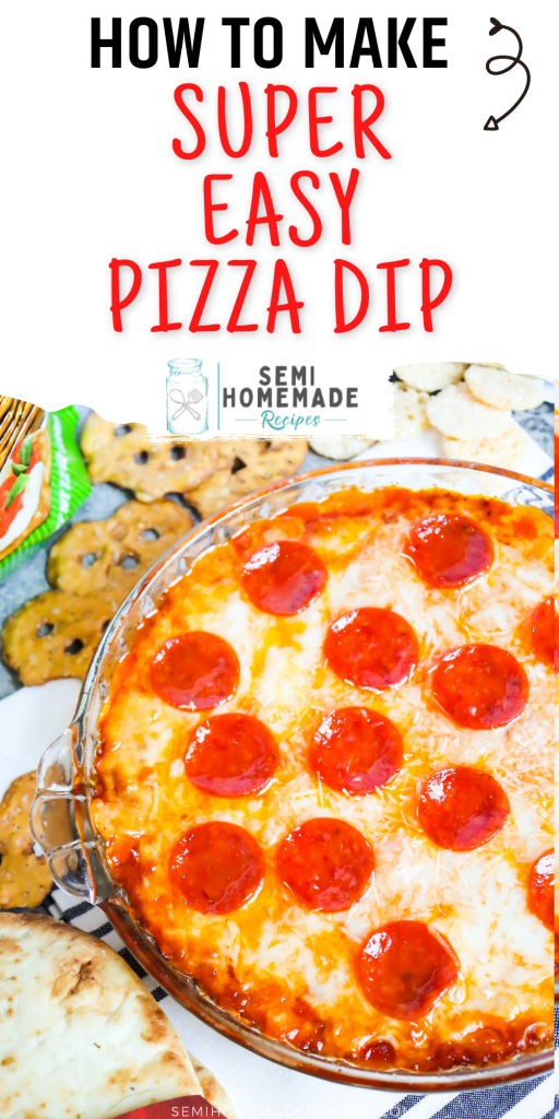 Pizza Dip - layers of cream cheese, parmesan cheese, mozzarella cheese and pizza sauce are topped with more cheese and pepperoni to make this easy pizza party dip! Perfect for serving with pretzels, naan bread, or crispy cheese wisps.