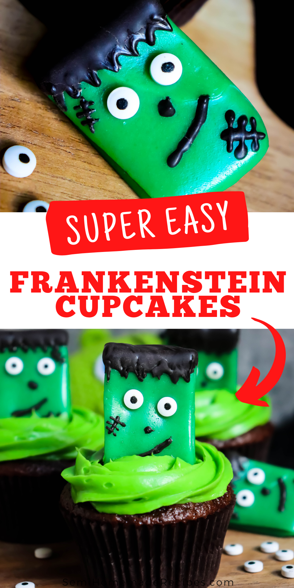 These easy Frankenstein Cupcakes are made up of chocolate cupcakes, green frosting and Frankenstein monsters made out of green airhead candy!