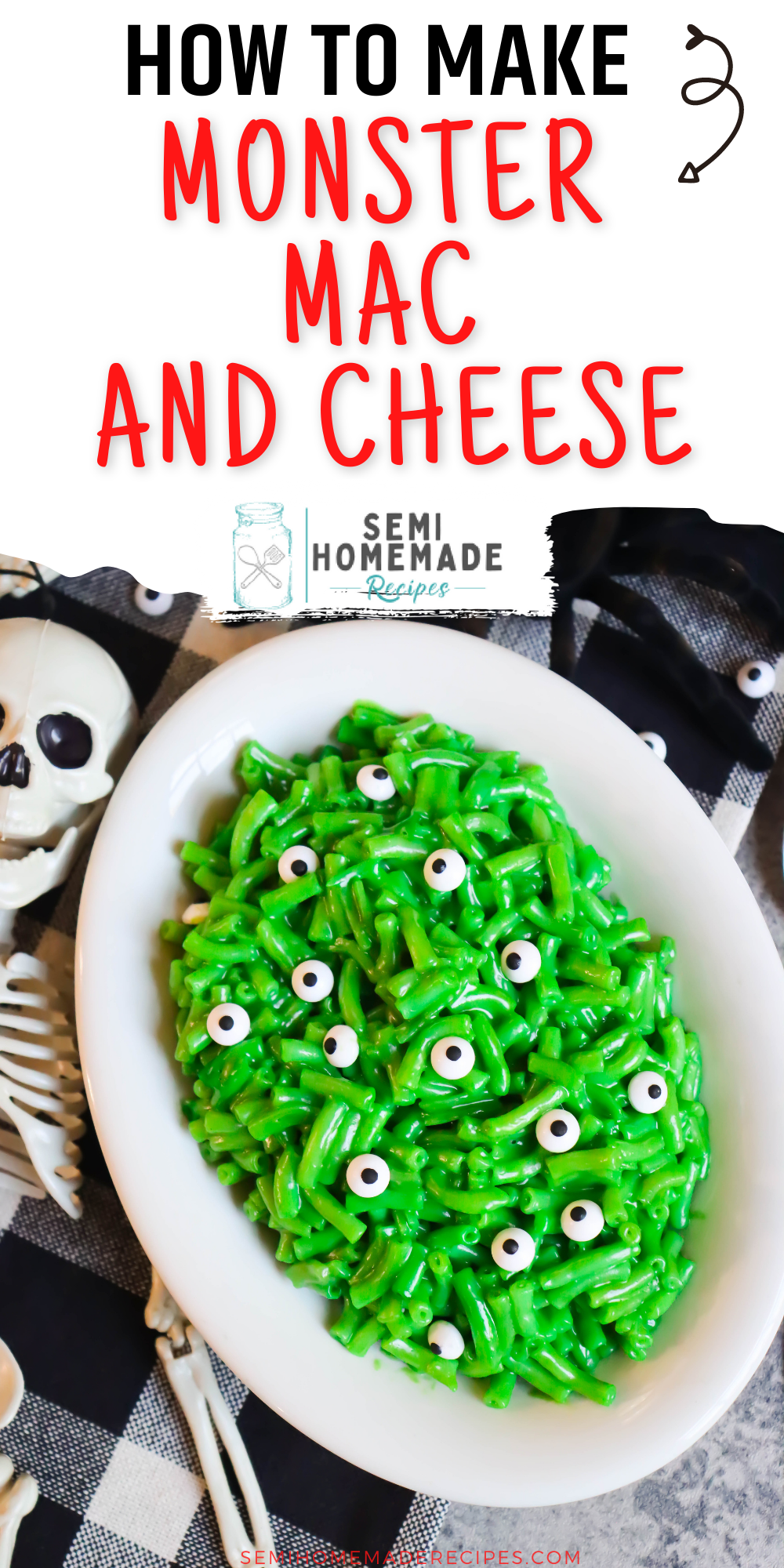 Monster Mac and Cheese - a semi homemade, fun and savory Halloween recipe using macaroni and cheese, green food coloring and candy eyes! This Monster Mac and cheese is the perfect Halloween lunch or Halloween dinner!