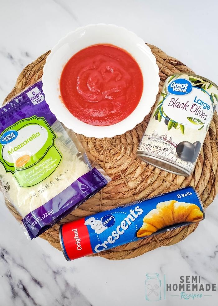 ingredients for MINI SPIDER PIZZA BITES